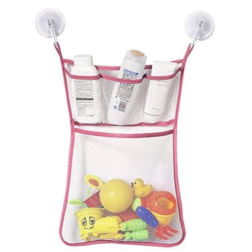 Bad Lager Tasche,Hffan Bad Spielzeug Organizer Bad Spielzeug Netz Badewanne Spielzeugnetz mit 4 Klebehaken & Bad Ball Mesh Badezimmer Organizer Net (Rosa, 33 * 45cm)