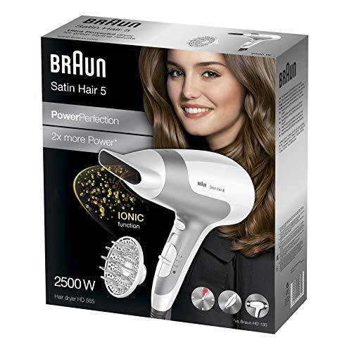 Braun Satin Hair 5 PowerPerfection HD585 - Secador de pelo potente y rápido con tecnología iónica