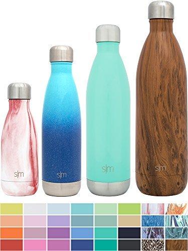 Simple Modern 1000ml Wave Wasserflasche - Trinkflasche Vakuum Isolierte Doppelwandige 18/8 Edelstahl - Hydro Camelbak Swell Bottle - Reisebecher, Flasche, Sporttrinkflasche - Holzdekor