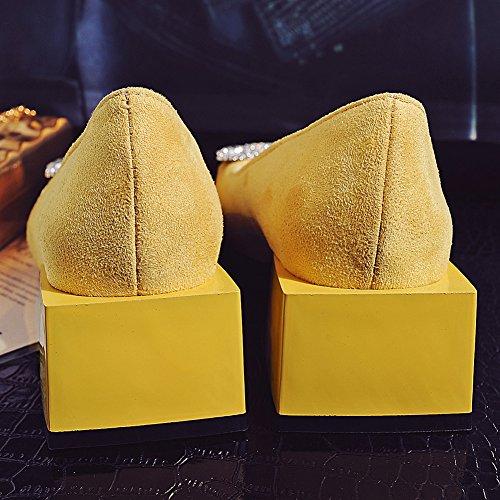 Damenschuhe Round Toe Pumps Blockabsatz Rhinestone Rutsch Gelb