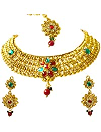 [Sponsored]Surat Diamonds Traditional Rajasthani Choker Style Gold Plated Designer Multi-Colour Colored Stone Fashion Jewellery...