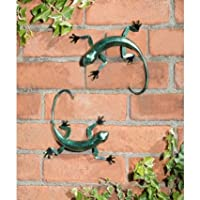 Graceful Pack of 2 Metallic Effect 3D Gecko Hand Finished Wall Art by Gecko