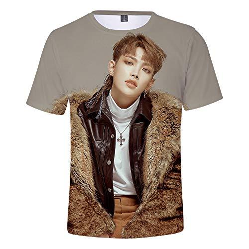 MR.YATCLS ATEEZ Foto-T-Shirt, Sommer-Polyester-T-Shirt, 3D-bedrucktes, Kurzärmliges T-Shirt, ()