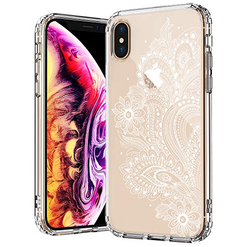 MOSNOVO iPhone XS MAX Hülle, Paisley Floral Henna Mandala Muster TPU Bumper mit Hart Plastik Hülle Durchsichtig Schutzhülle Transparent für iPhone XS MAX (Paisley Floral)