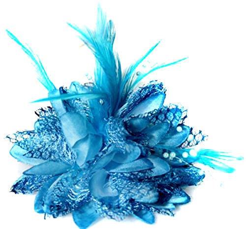 Haarblume Haarblüten Haarschmuck Haarspange Brauthaarschmuck Blüten Perlen Fascinator Feder Braut Hochzeit (türkis)