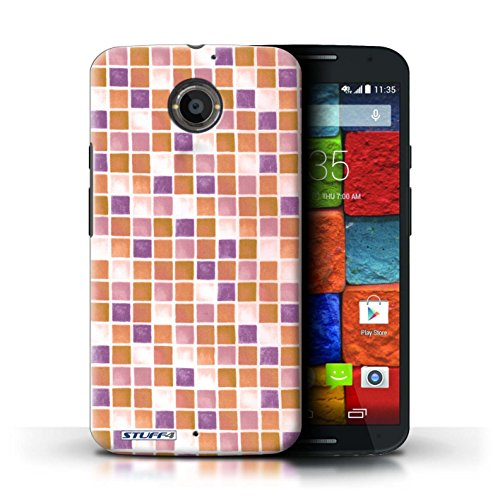 Kobalt® Imprimé Etui / Coque pour Motorola Moto X (2014) / Rouge/Rose conception / Série Carreau Bain Violet/Orange