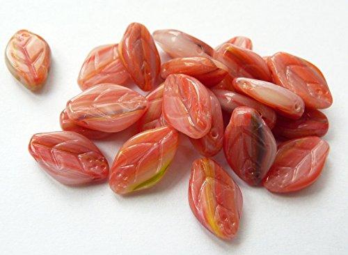 30(PCS) X 12(mm) Tschechische Glas Blatt Drop Beads–Marmor rot–® C018 (Leaf 12 Licht Gold)