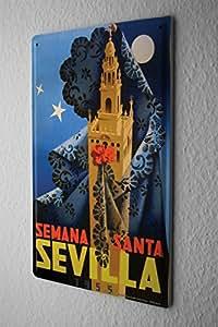 Plaque Émaillée Déco Ville Séville Espagne Semana Santa tour de voile nuit 20X30 cm