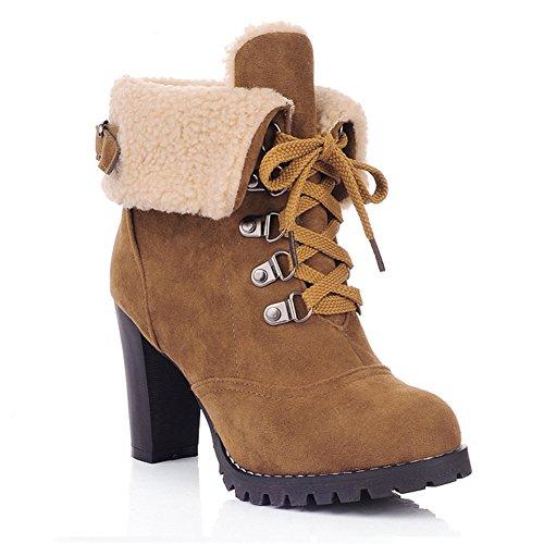 Damen Schnür Stiefeletten Kurz Winter Stiefel Warm Gefüttert Ankle Boots Plateau Blockabsatz Winterschuhe High Heels Schuhe, Gelb 43 (Heel Schwarz Gelb High)