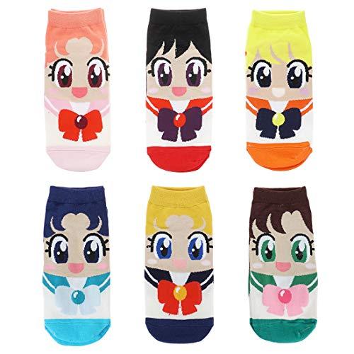 CoolChange Sailor Moon Sneaker Socken der Sailor Kriegerinnen, 6 Paar