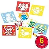 Schablonen mit Weihnachtsmotiven für Kinder - 6 Stück
