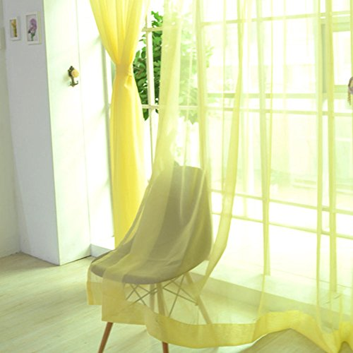 Tenda in tulle voile tenda per camera da letto – rod pocket home decoration, elegance sheer mantovane sciarpa pannello per interni, yellow, taglia libera