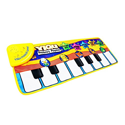 Musical Toys,Piano Mat Zmoon Musical Carpet Baby Toddler Activity Gym Play Mats , Baby Early Education Music Singing Piano Keyboard Blanket Touch Play Safety Learn Singing funny Toy for Kids Gift (Yellow)