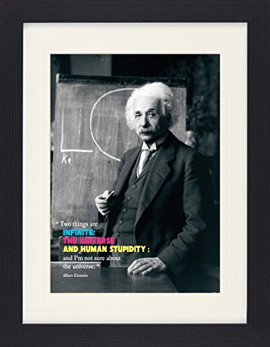 1art1 114075 Albert Einstein - Two Things Are Inifinite, The Universe and Human Stupidity Gerahmtes Poster Für Fans Und Sammler 40 x 30 cm