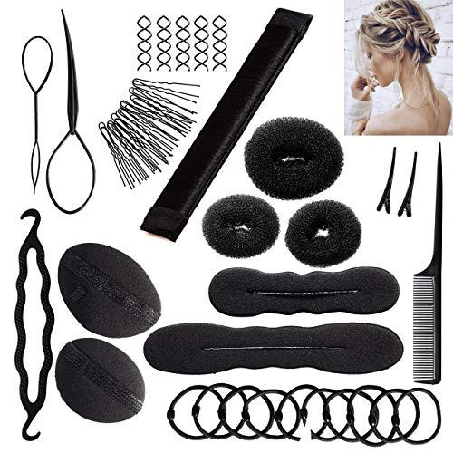 Frisurenhilfe Set mit Bedienungsanleitung - Einfache Frisuren zum Selbermachen - Frisur Hilfe Set für lange Haare mit Zubehör - Haar Styling Set (schwarz)