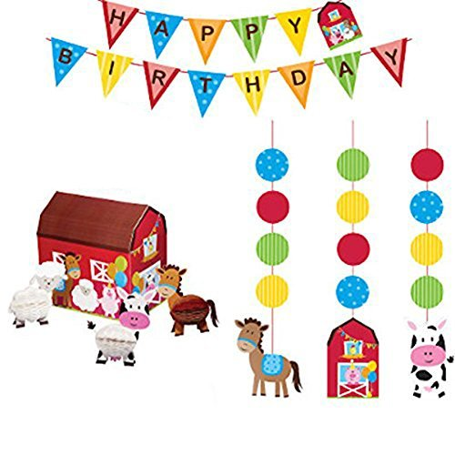 (Farmhouse Fun Party Decorations Supply Pack - Hanging Cutouts, Banner, and Centerpiece)