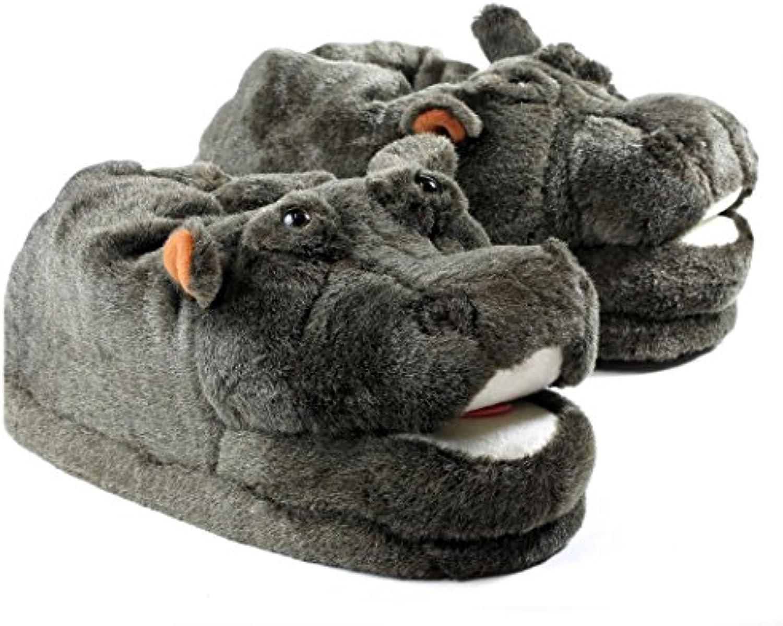 Sleeper'z Hausschuhe Nilpferd   Rutschfeste Plüsch Tierhausschuhe