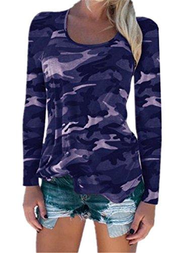 AILIENT Classico Maglia Camouflage Manica Lunga T-Shirt Donna Sexy Collo V Camicetta Moda Maglietta Casual Tops Dark Blue2