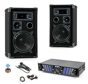 1200W PA Beschallungsanlage Boxen Lautsprecher Verstärker Endstufe DJ-211