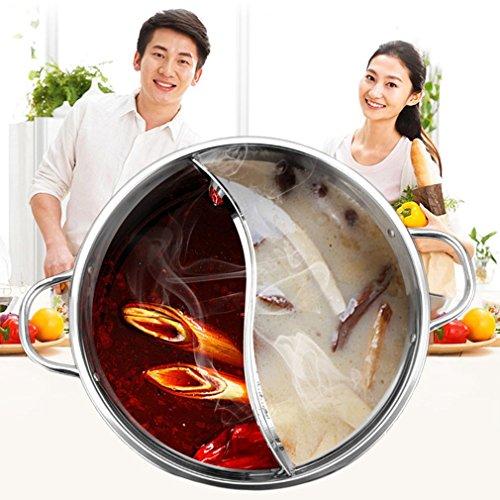 Hemore 30 cm Edelstahl Hot Pot Shabu Dual Side Induktion Kochtopf Home Zubehör - Hot Pot