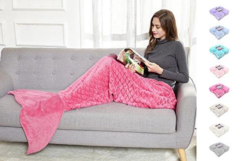 DecoKing Coperta Sirena 190 cm Motivo a Sbalzo Squame di Pesce Coda di Sirena Extra Morbido e Delicato Sacco a Pelo Rosa Fucsia Amaranto Siren