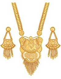 Asmitta Traditional Flower Design Gold Plated Opera Style 1 Gms Gold Brass Necklace Set For Women
