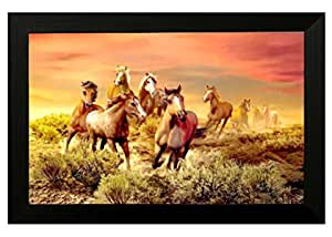 Pintura Seven running horses # vastu painting for home and office # Seven lucky running horses painting # 7 horses painting # seven horses # vastu horses # Pintura exclusive Framed Wall Art Paintings(Wooden framed painting size 18 Inch X 12 Inch) (RUSTIC, 12 x 18)
