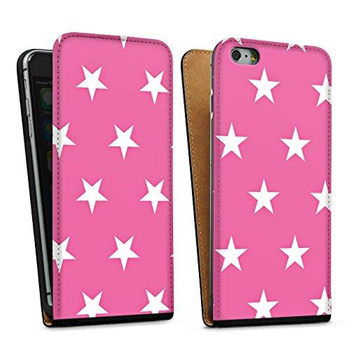 Apple iPhone 5s Housse Étui Protection Coque Polka étoiles Rose vif Motif Sac Downflip noir