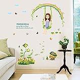 Winhappyhome Gartenschaukel Happy Girl Romantische Warm Wand Aufkleber FüR Kinder Schlafzimmer Wohnzimmer Kulisse Dekor Entfernbare Abziehbilder