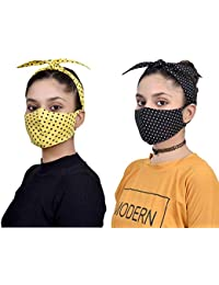 Tolexo innovative Cotton Hairband cum mask in polka dots pack of 2