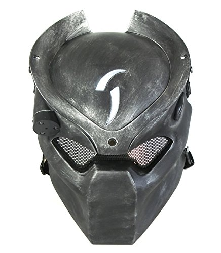 Casco táctico para airsoft y paintball de WorldShopping4U, con malla metálica y máscara de depredador con luz infrarroja