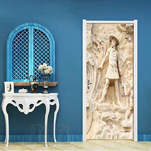ro Portrait Tür Aufkleber Tapete Schlafzimmer Wohnzimmer Tür Decor 3D Aufkleber PVC Selbstklebende wasserdichte Wandbild, 77X200 cm ()