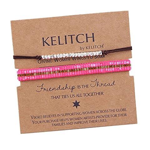 KELITCH 2 Pièces Mince Corde Bracelet Et Cristal Perles de Rocaille Tressé Amitié Bracelet - (Fortunato Braccialetto Della Pietra Preziosa)