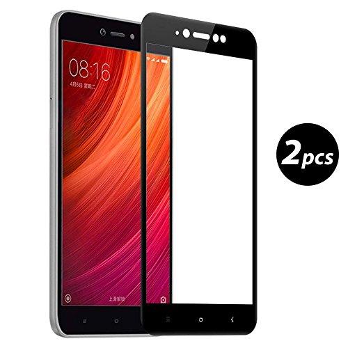 [2-Unidades] EUGO Xiaomi Redmi Note 5A Prime Protector de Pantalla, Alta Definicion No hay Burbujas Vidrio Templado HD Film Protector de Pantalla Screen Protector Cobertura Completa Negro