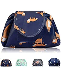 Lazy Drawstring Makeup Bags, Large Capacity Waterproof Travel Portable Cosmetic Bag Pouch Makeup Pouch Storage Organiser for Women Girl