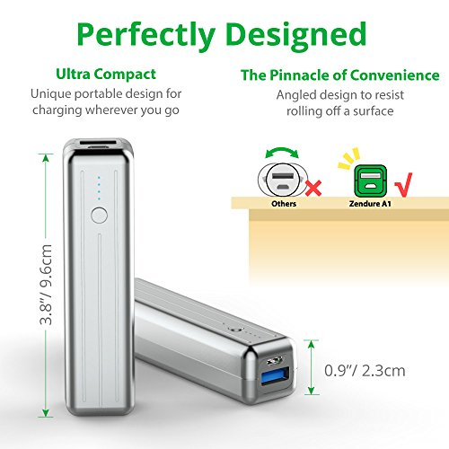 ZENDURE-A1-Mini-Batera-de-Reserva-Externa-3350mAh-Cargador-Porttil-Power-Bank-Durable-y-Extremadamente-Compacto-1A-Max-para-el-iPad-iPhone-Samsung-y-Ms-iOS-y-Android-Plata