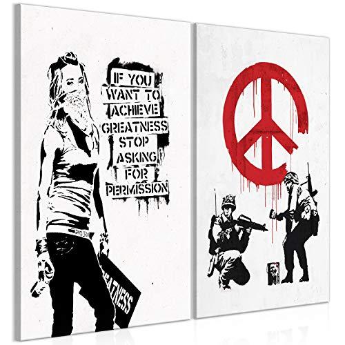 Murando - Cuadro Banksy 80x60 cm impresión 2 Piezas