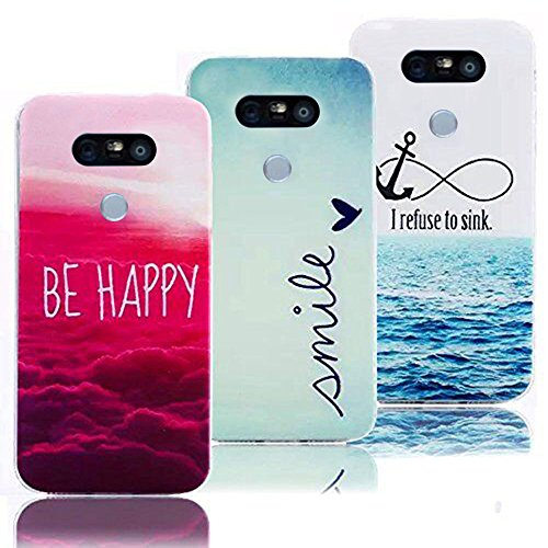 Vandot LG G5 Dura Bumper Ultrasottile Matt Custodia Case Cover, Lusso Crystal TPU Morbido Silicone Hard Shell Protection Shock-Absorption Fiore Copertura,Colore Dipinto (3 pieces)