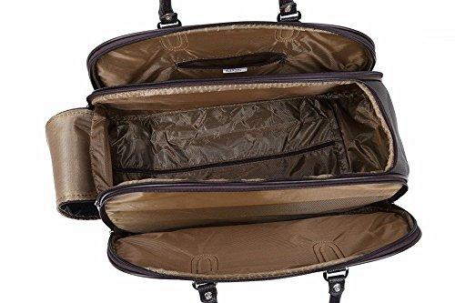LeahWard® Grete Taille Sac Dee Voyage Bagages Sac De Voyage Avec roue (LonDon BEAR Blanc) Noir Sac Dee Voyage-002