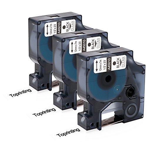 Toprinting 3 Schriftband Etikettenband kompatibel für Dymo D1 45010 S0720500 schwarz auf transparent (12mm x 7m) für DYMO LabelPoint& LabelManager