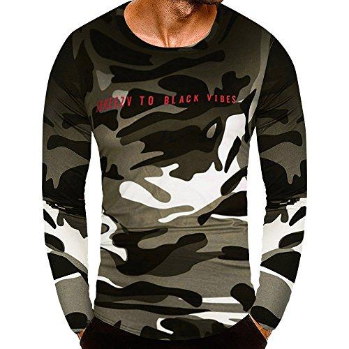 DEELIN Mode Persönlichkeit Camouflage Männer Casual Schlank Langarm Shirt Top Bluse