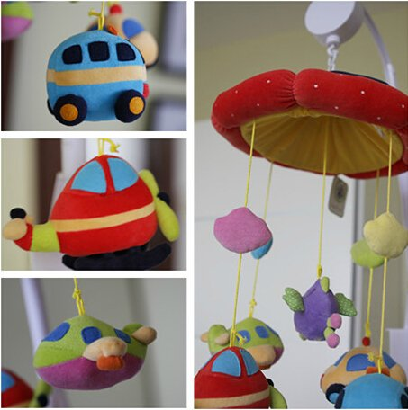 Zuwit Plane and Car Baby Bed Crib Musical Mobile Rotating Nursery Bell Electric Music Box 12