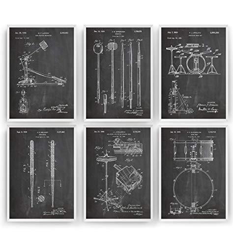 Schlagzeuger Patent Poster - Set Of 6 Prints - Drum Set Jahrgang Drucke Drucken Bild Kunst Geschenke Zum Männer Frau Entwurf Dekor Vintage Art Gifts For Men Women Decor - Rahmen Nicht Enthalten Womens Gift