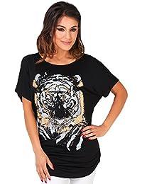 KRISP® Femmes T-shirt Manches Chauves-Souris Tête de Tigre Argenté
