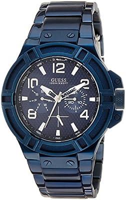 Guess W0218G4 - Reloj con correa de metal para hombre, color negro / azul