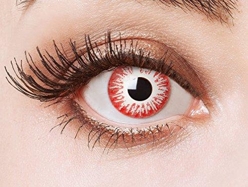 n Farblinsen weiße Zombie Kontaktlinsen farbig/Horror Halloween Make-up ()