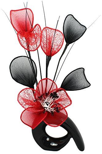 Flower design qh1 fiore rosso vaso, nero