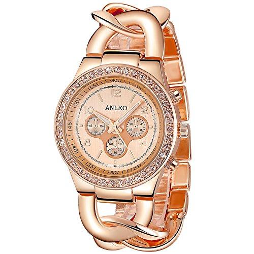 Anleo 2015 neue erstklassig,Fashionable und Quarz Damenuhr mit künstlich Diament und Kreuzförmigen Kette. Rose-gold