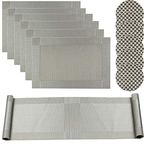 Grau Platzdeckchen und Tischläufer Abwaschbar Plastik Platzsets und Untersetzer (Set of 6 Place mats and Table Runner 180cm) ()