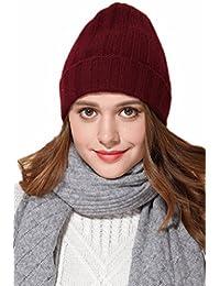 Prettystern - unisexe bonnet beanie chapeau tricoté uni-col 100% cachemire ourlet plissé rayures